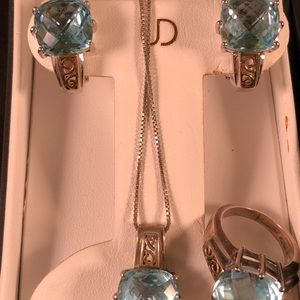 Kay jewelers blue topaz earrings ring necklace